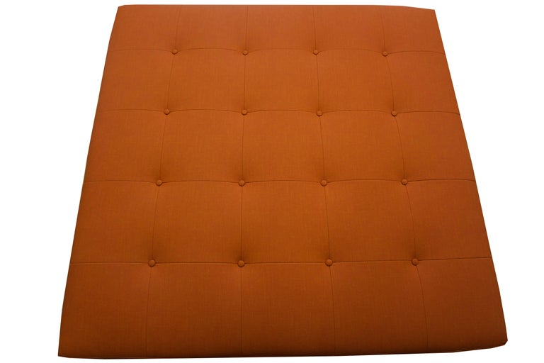 Modern Large Square Button Tufted Ottoman, Custom For Sale