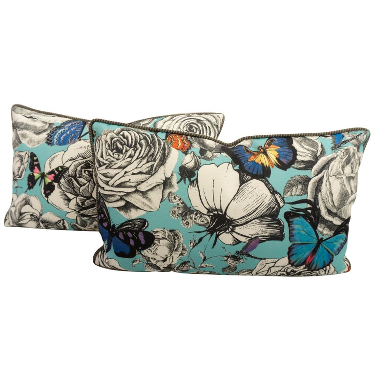 Contemporary Lumbar Throw Pillows in Blue Butterfly and Rose Pattern For Sale