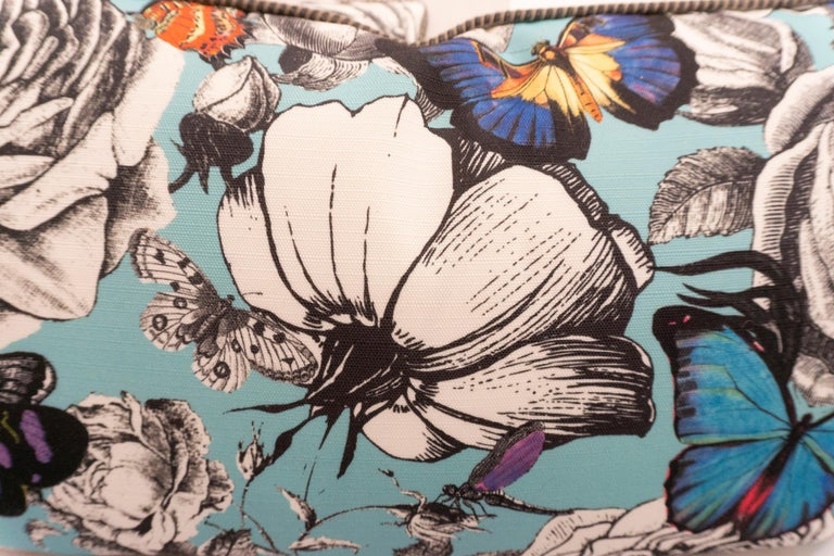 Lumbar Throw Pillows in Blue Butterfly and Rose Pattern For Sale 3