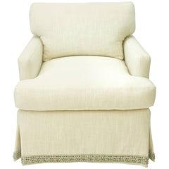 Carlota custom order - 2 skirted club chair and 2 two pillow ottomans, all COM