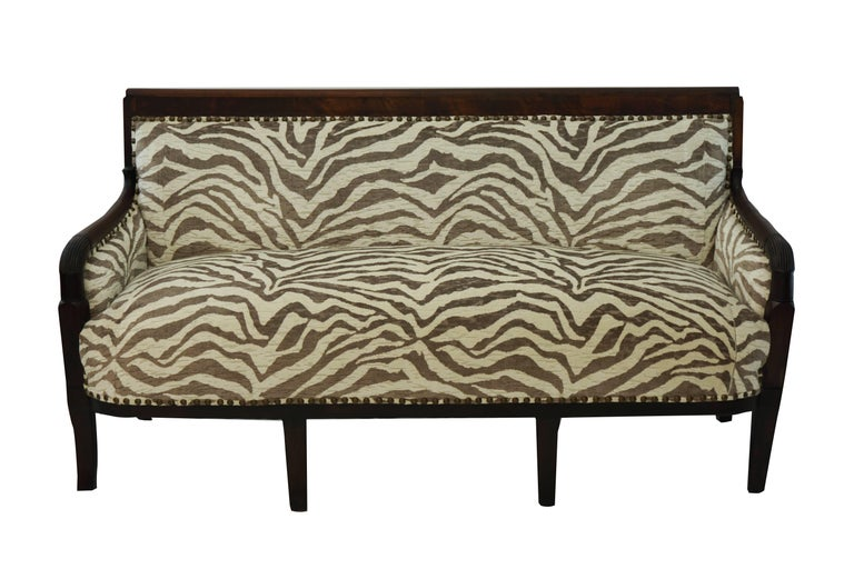 Empire-Style French Settee, Newly Upholstered in Zebra Velvet In Excellent Condition For Sale In Westport, CT