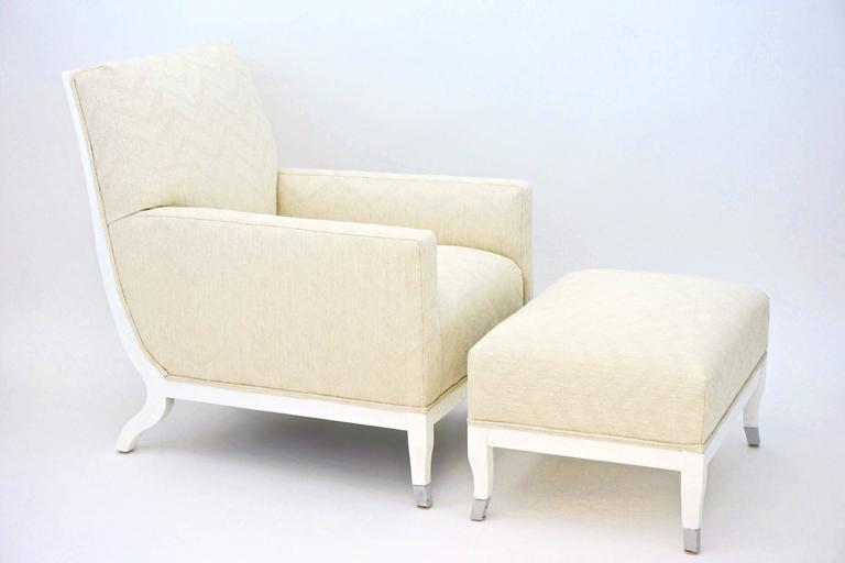 French deco influenced contemporary chair with matching ottoman at 1stdibs - Deco lounge chique modern ...