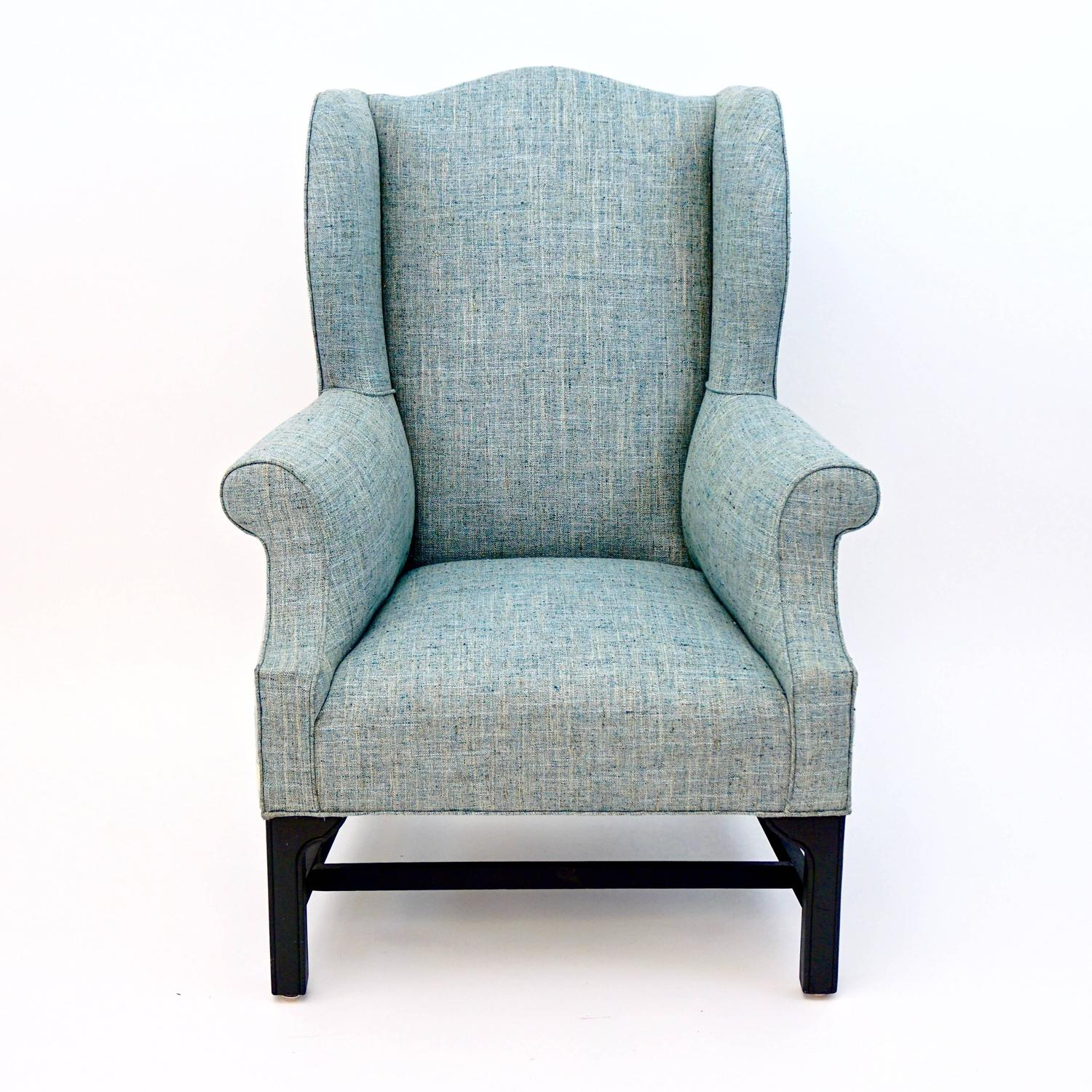 vintage wing chair newly upholstered for sale at 1stdibs On upholstered wing chairs for sale