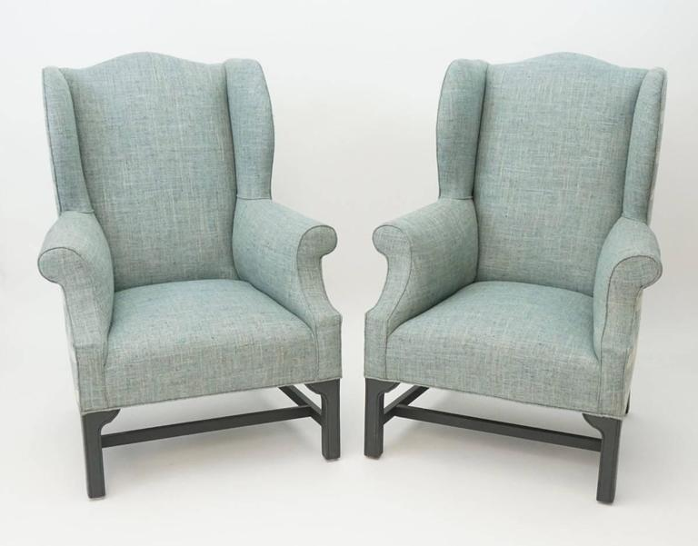 Delicieux Antique Wingback Chair Newly Upholstered In Tweed And Plaid