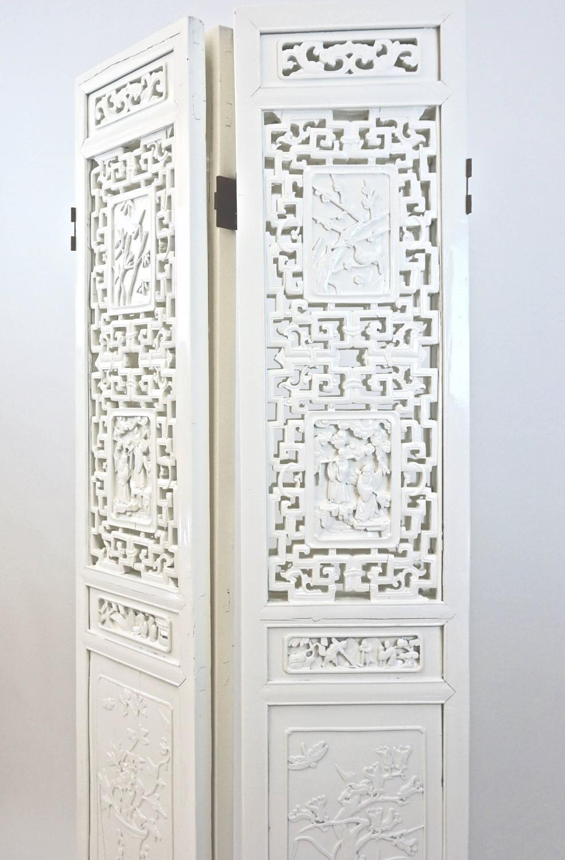 4 Panel Decorative Asian Floor Screen Or Room Divider
