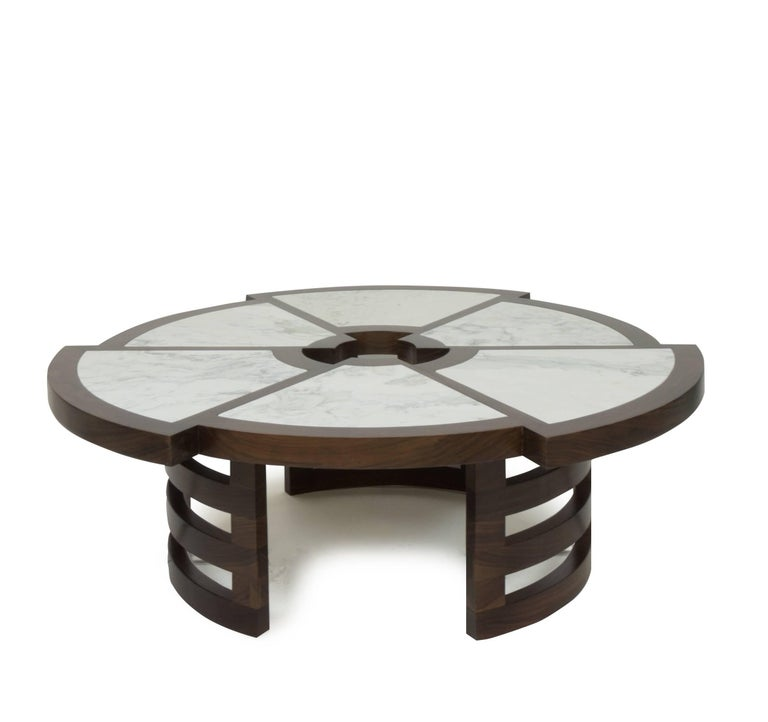 Marble Top Coffee Table Nick Scali: Modern Coffee Table With Walnut And Marble Inlay For Sale