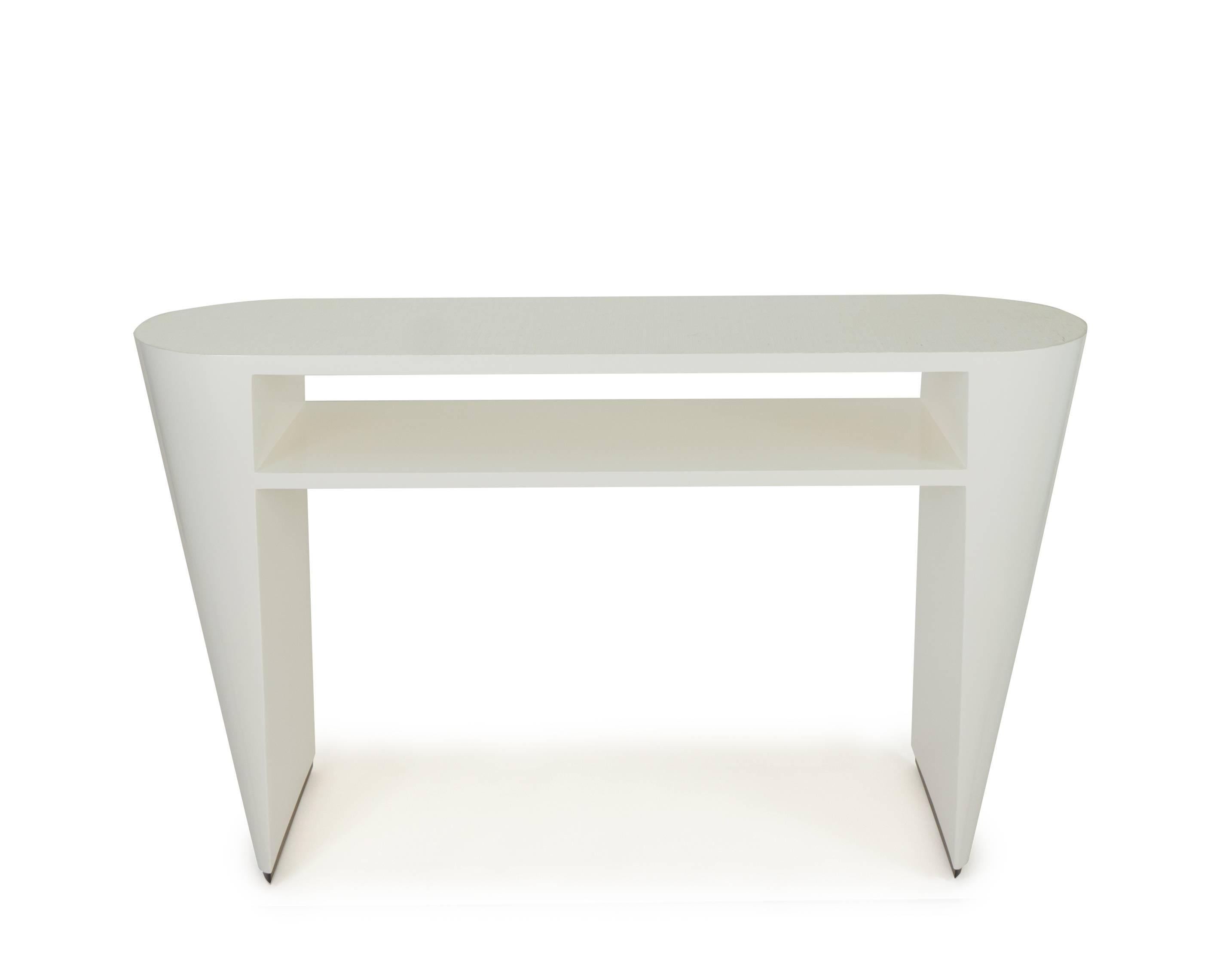 Art Deco White Lacquered Console Table With Grcloth Top For At 1stdibs