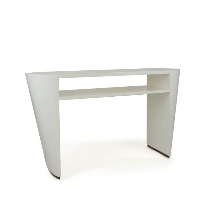 American Art Deco White Lacquered Console Table For Sale