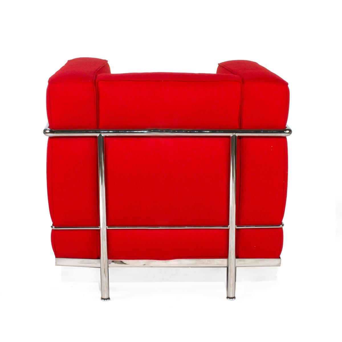 red cassina lc2 chair by le corbusier modern italy armchair for sale
