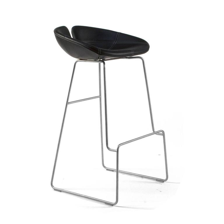 Moroso Black Leather Fjord High Bar Stool By Patricia Urquiola, Italy 2