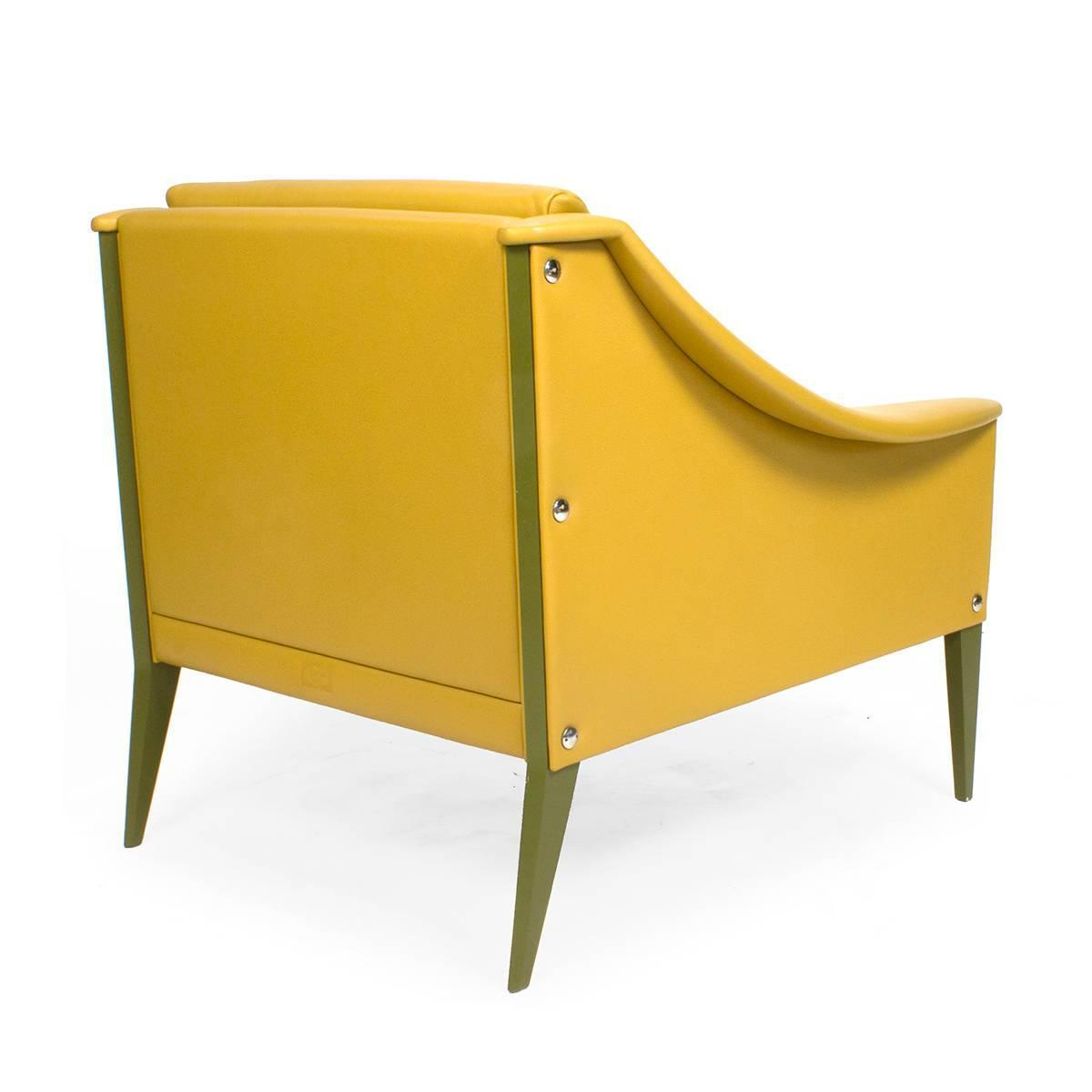 Yellow Leather Poltrona Frau Dezza Armchair By Gio Ponti