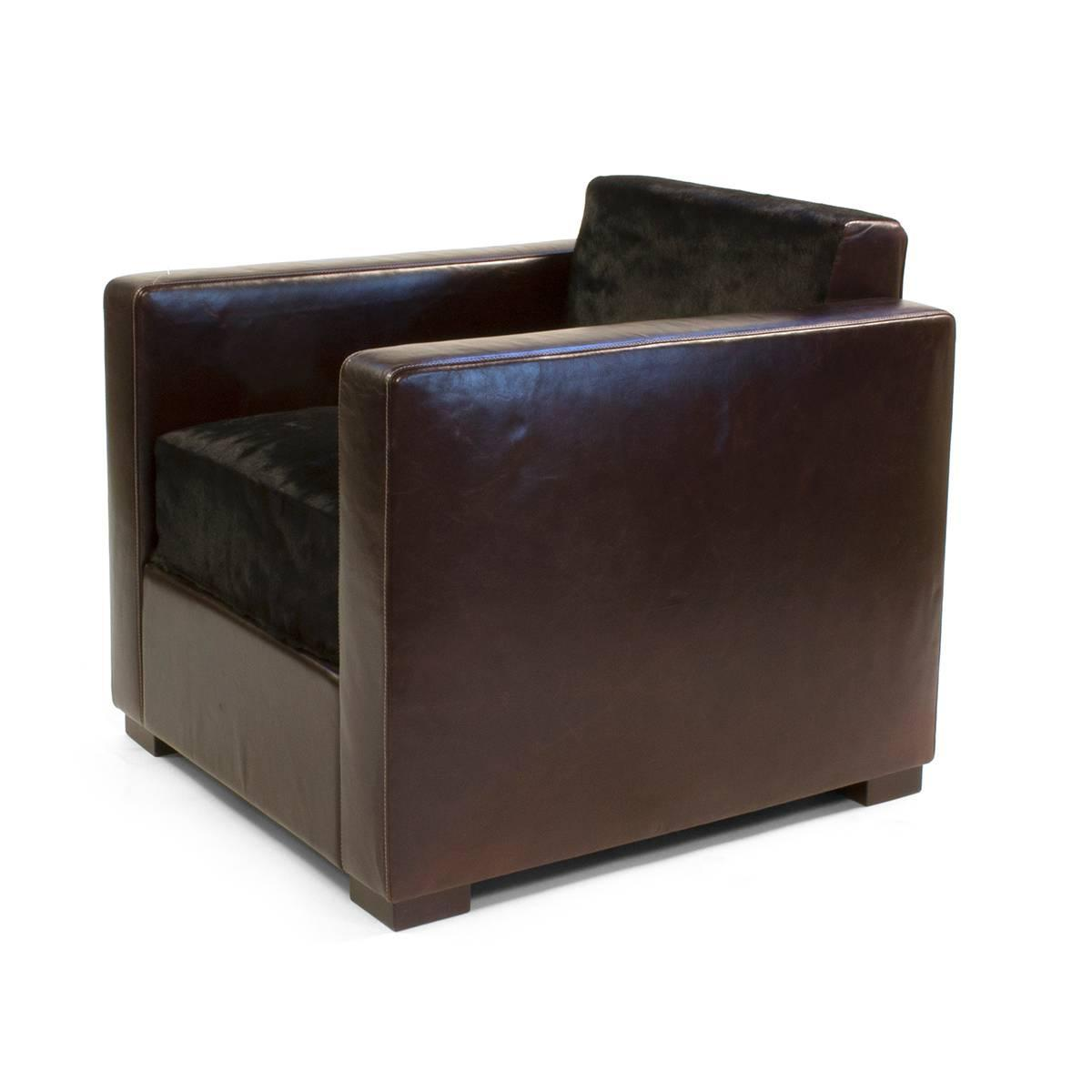 Poltrona Frau Leather And Pony Skin Linea A Armchair By