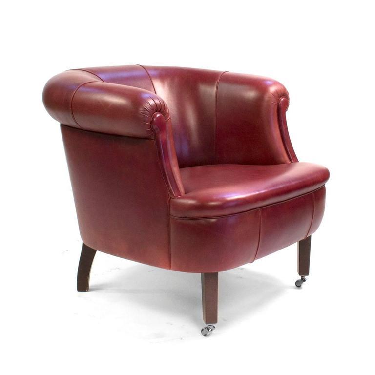 Red Leather Poltrona Frau Lyra Club Armchair By Renzo Frau