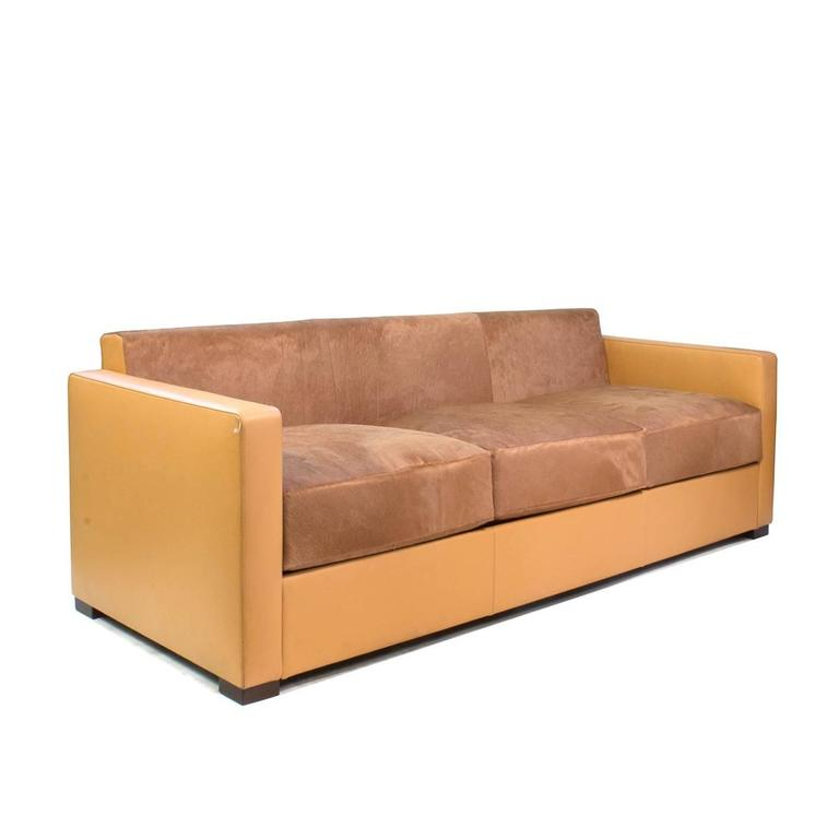 brown leather poltrona frau linea a three seat sofa by peter marino italy for sale at 1stdibs. Black Bedroom Furniture Sets. Home Design Ideas