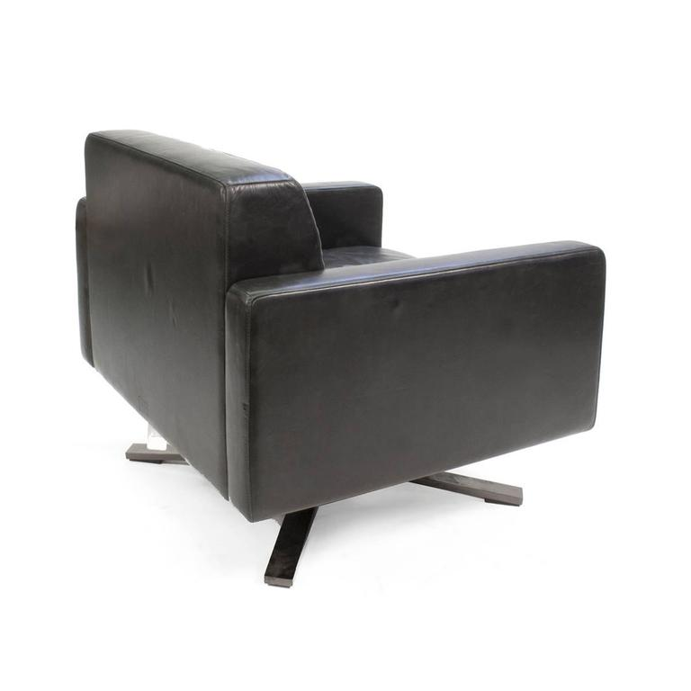 black leather poltrona frau kennedee swivel armchair by jeanmarie massaud italy 3
