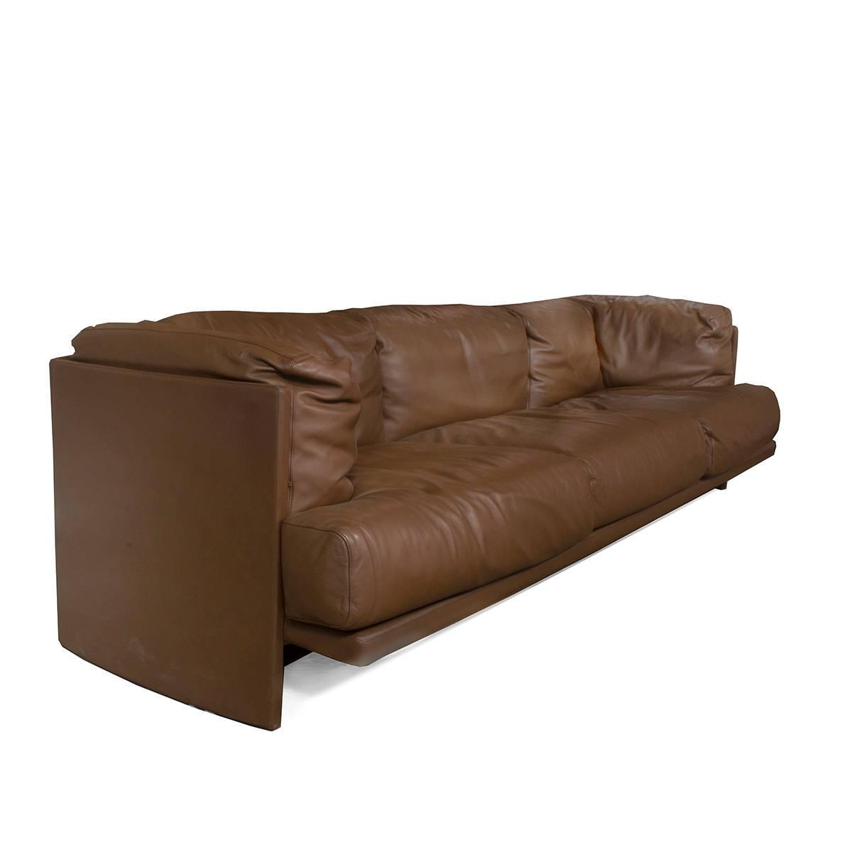 brown leather poltrona frau polo three seat sofa by piero. Black Bedroom Furniture Sets. Home Design Ideas