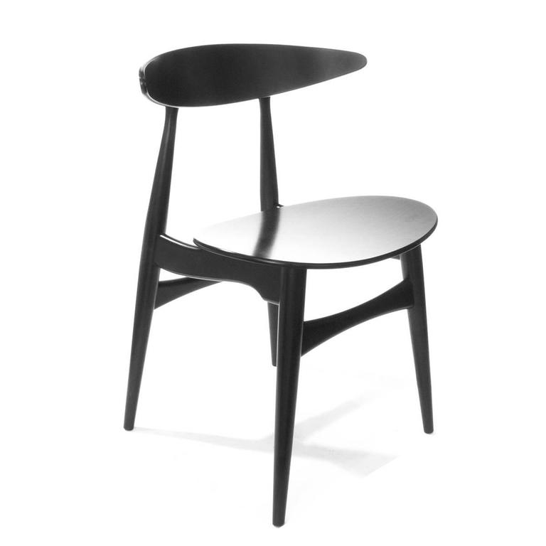 This four wishbone chairs by hans wegner is no longer available - Black Carl Hansen And Son Ch33t Modern Dining Chair By