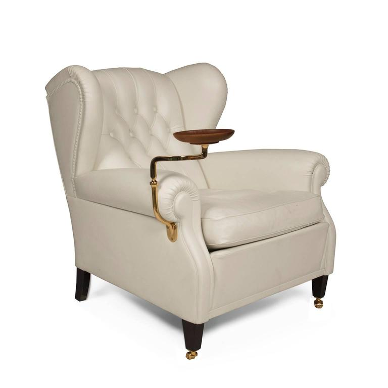 White leather 1919 armchair with ashtray by renzo frau for for Poltrona frau 1919
