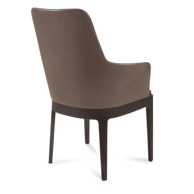 Grey Leather Chelsea High Back Dining Chair By Ron Gilad For Molteni Italy F
