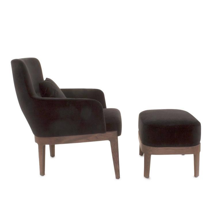 Black Velvet Chelsea Armchair And Pouf By Rodolfo Dordoni