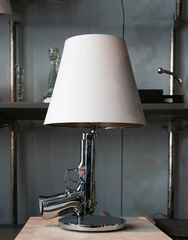 Modern Chrome Gun Bedside Table Lamp By Philippe Starck For Flos, Italy For  Sale At 1stdibs