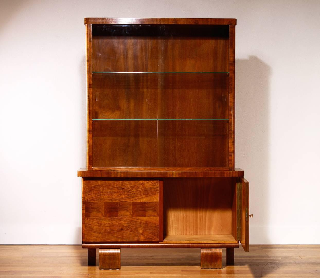1930s art deco walnut display cabinet for sale at 1stdibs for 1930s kitchen cabinets for sale