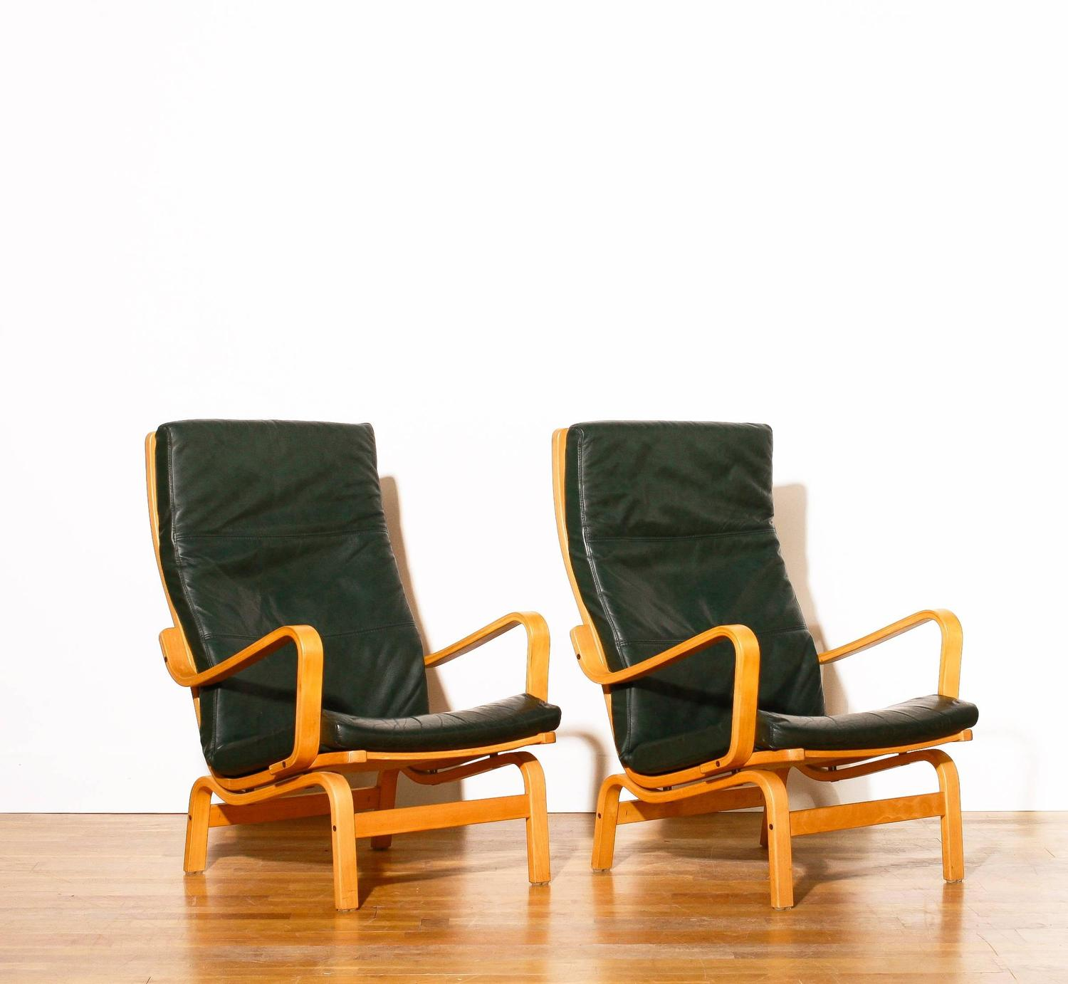 Yngve Ekström for Swedese, Set of Two'Contino' Leather Lounge Chairs, 1980s For Sale at 1stdibs
