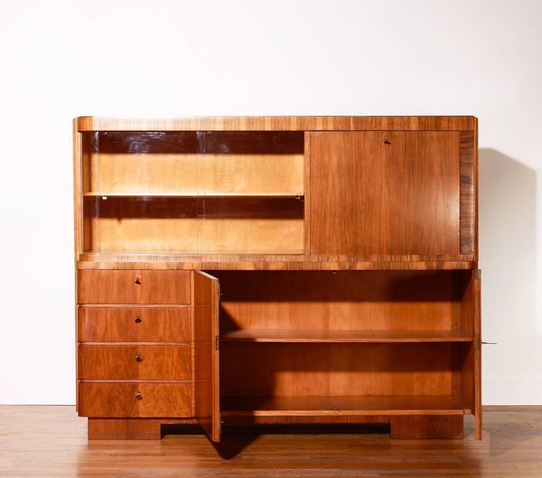 art deco secretary or cabinet in burlwood 1920s 1930s at 1stdibs. Black Bedroom Furniture Sets. Home Design Ideas