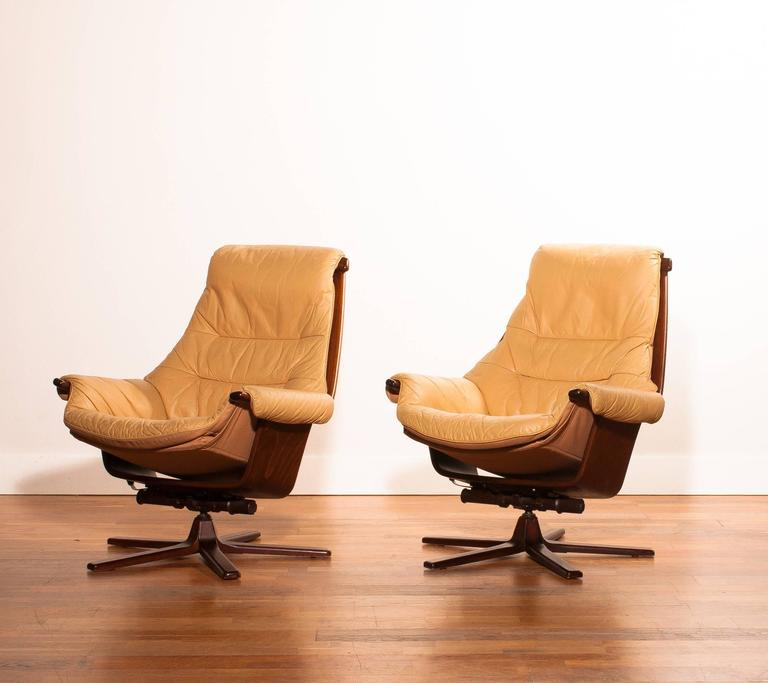 beautiful swivel club chairs | 1970, Beautiful Set of Swivel Chairs by Göte Möbel at 1stdibs