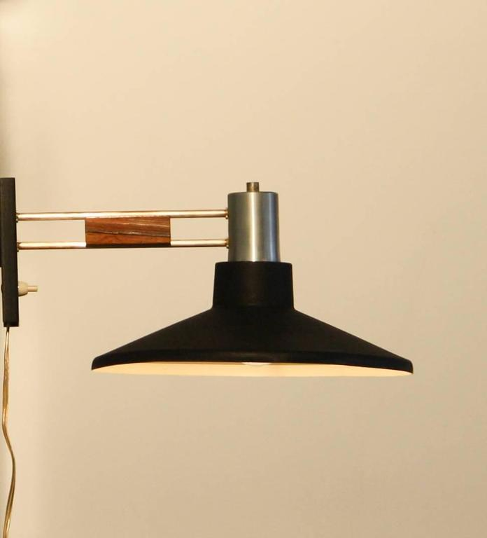 1950s, Beautiful Black Metal-Rosewood Wall Lamp at 1stdibs