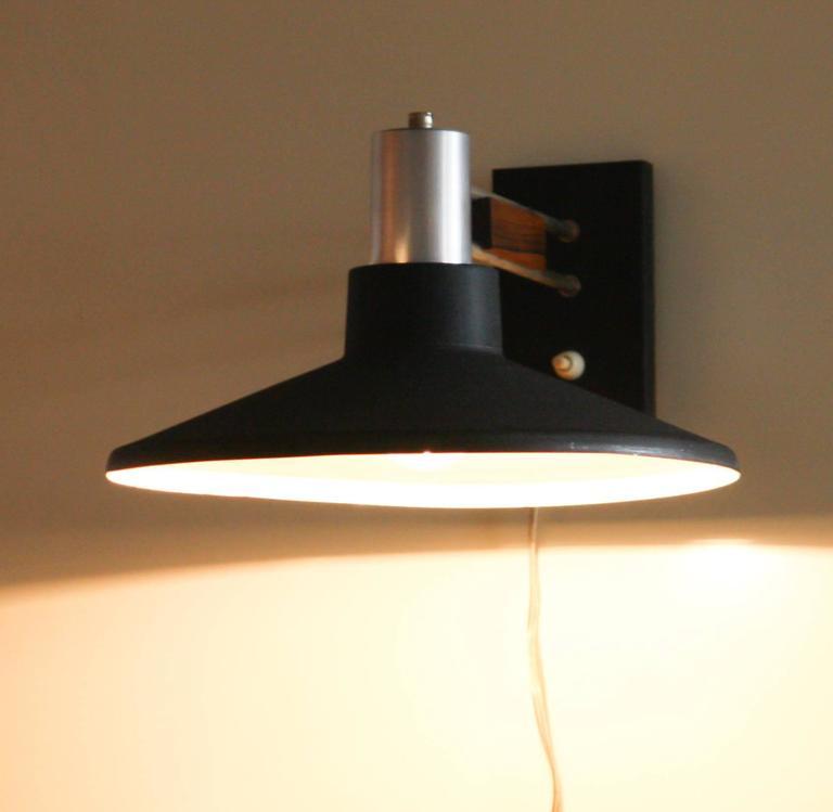 1950s, Beautiful Black Metal-Rosewood Wall Lamp at 1stdibs