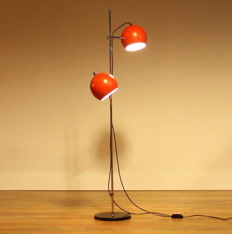 Typical 1970s Floor Lamp This Has Two Red That Are Adjule And Rotatable