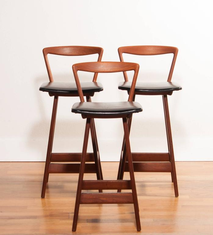 1960s Set Of Three Barstools By Henry Rosengren Hansen For