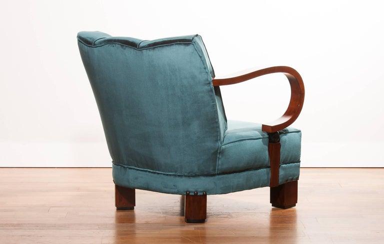 1920s, Art Deco Blue Velvet Club Chair For Sale At 1stdibs