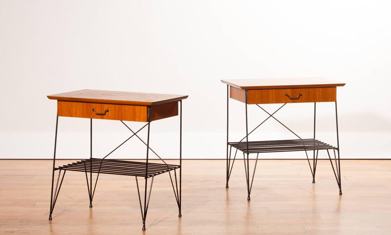 1950s, A Set Of Teak And Black Metal Gullberg Style