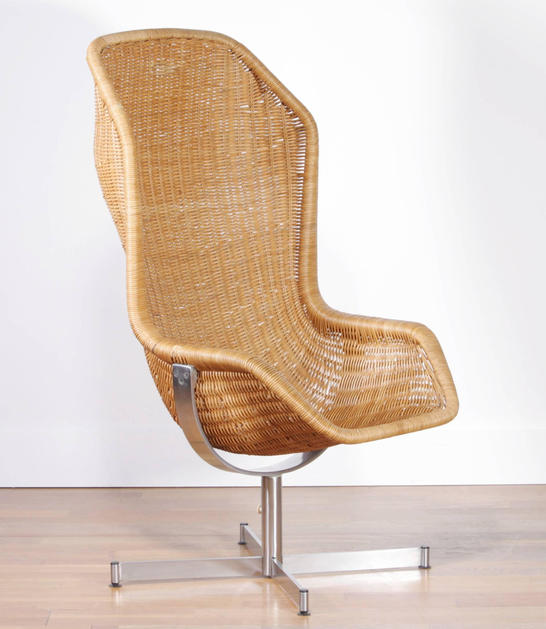 Beautiful And Excellent Set Of Swivel Rattan Chairs Designed By Dirk Van  Sliedregt For Gebroeders Jonkers