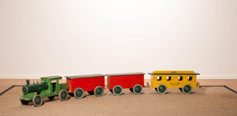 Mid-20th Century 1930s Large Wooden Toy Train, Sweden For Sale