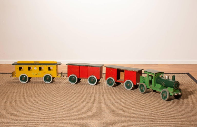 Pine 1930s Large Wooden Toy Train, Sweden For Sale