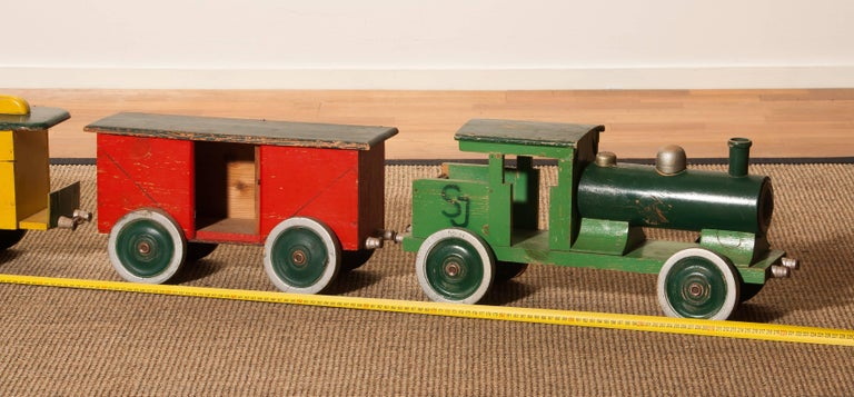 1930s Large Wooden Toy Train, Sweden For Sale 3