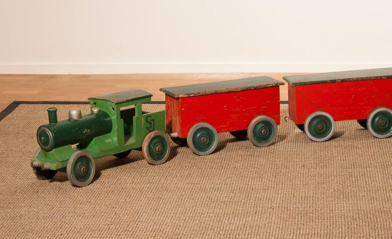 Swedish 1930s Large Wooden Toy Train, Sweden For Sale