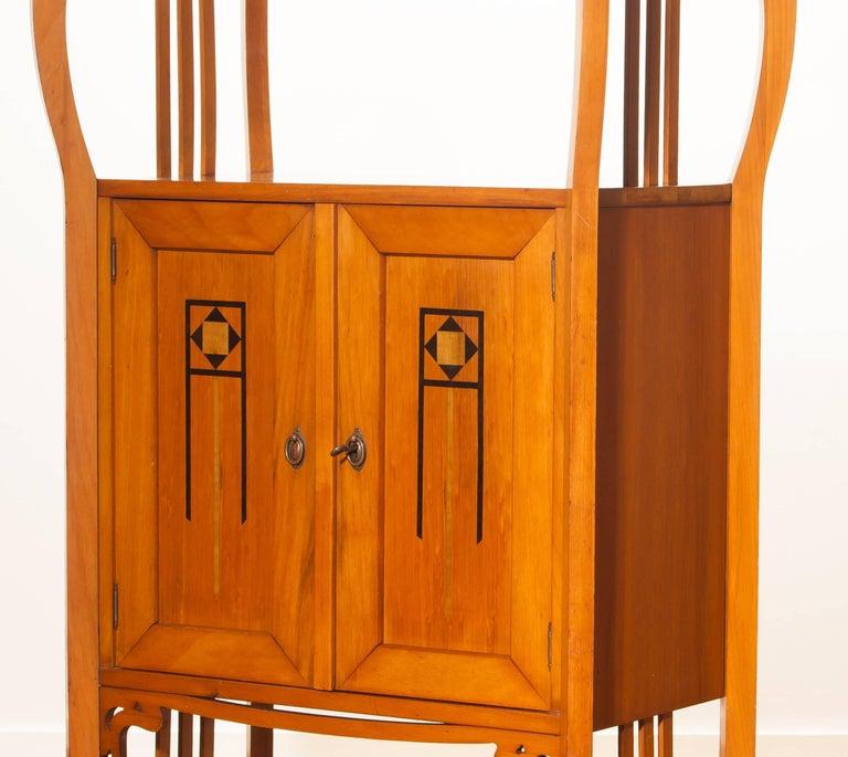 Dutch 1920s, Elm Art Nouveau Cabinet For Sale