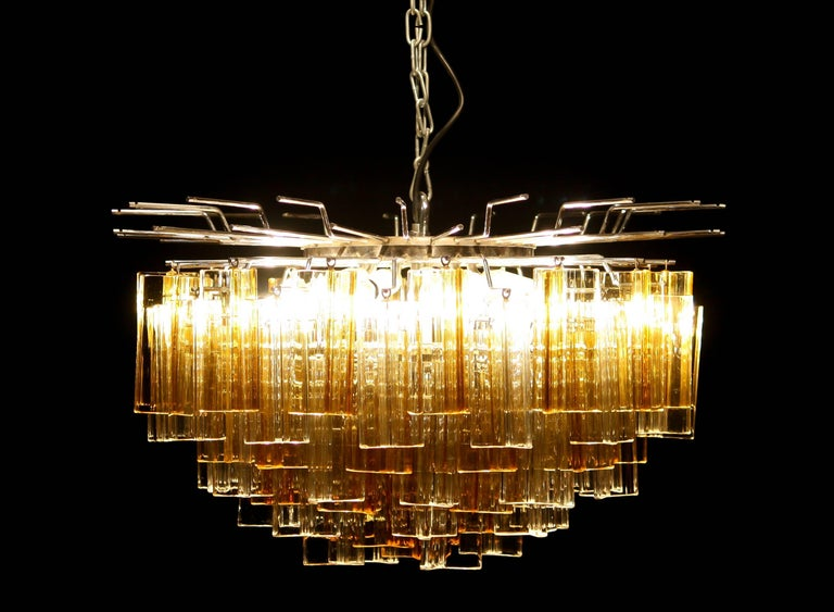 1960s, Large Venini Triedri Glass Chandelier, Italy For Sale 3