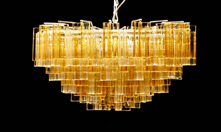 1960s, Large Venini Triedri Glass Chandelier, Italy In Excellent Condition For Sale In Silvolde, Gelderland