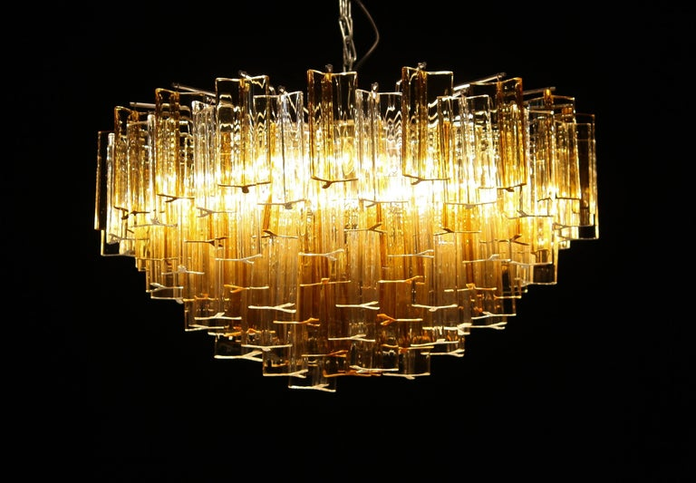 Magnificent Venini triedri glass chandelier made in Italy.