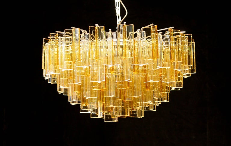 Mid-20th Century 1960s, Large Venini Triedri Glass Chandelier, Italy For Sale