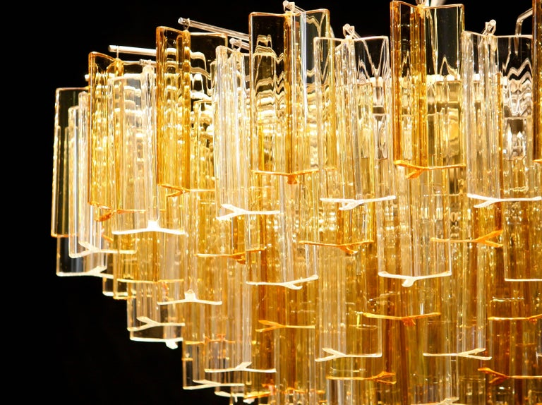 Murano Glass 1960s, Large Venini Triedri Glass Chandelier, Italy For Sale