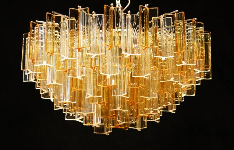 Italian 1960s, Large Venini Triedri Glass Chandelier, Italy For Sale