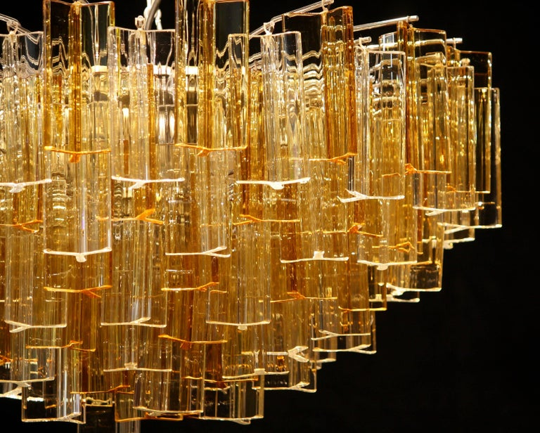 1960s, Large Venini Triedri Glass Chandelier, Italy For Sale 1