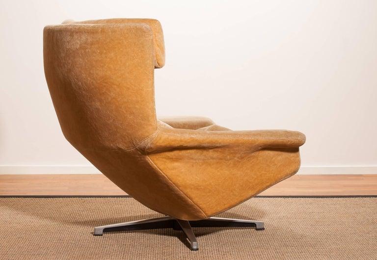 1960s Golden Beige Velvet Swivel Lounge Chair Bamse By