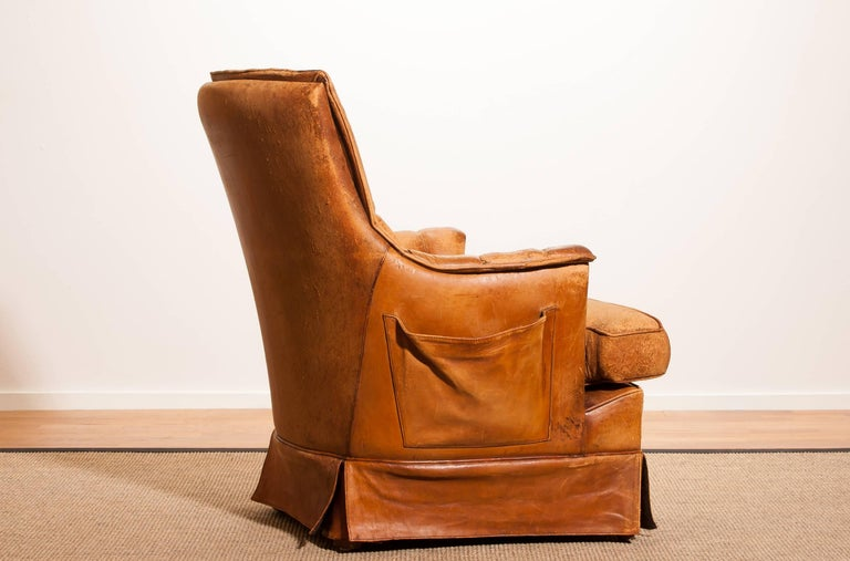 Italian 1940s, Sheep Leather Skirt Club, Lounge Chair, France For Sale